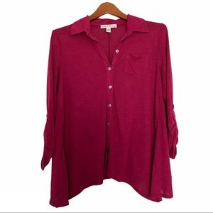 French Laundry button down tunic top pink small